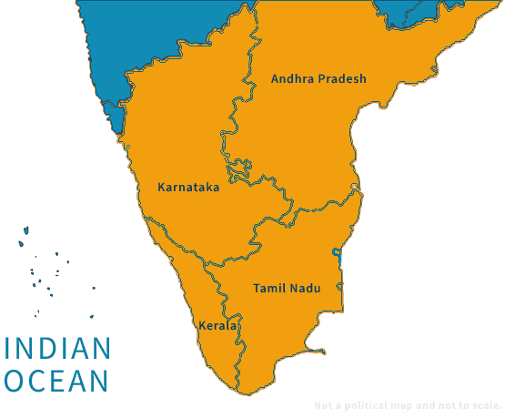 Southern India Tour Map